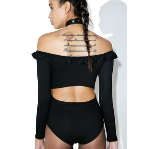 Tops - Black Ribbed Off Shoulder Open Back Bodysuit