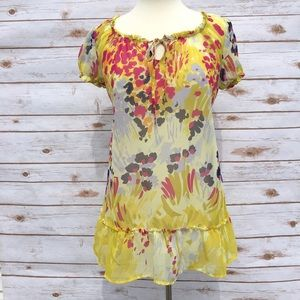 Liz Lange for Target Tops - Liz Lange Yellow Floral Ruffle Maternity Top