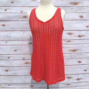 Coral Lace Sleeveless Motherhood Maternity Top