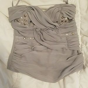 mandee Tops - Grey with accent silver pieces tube top