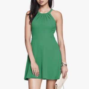 Express Green Fit and Flare Halter Dress