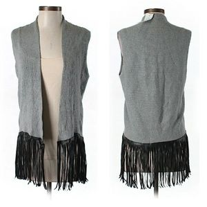 Central Park West Sweaters - Fringed Knit Vest/Sleeveless Cardigan