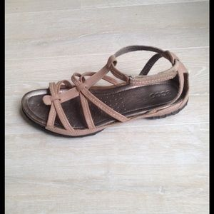 Ecco Shoes - Ecco tan leather sandals size 9