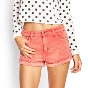 Forever 21 Faded Coral Jean Shorts - Size 27