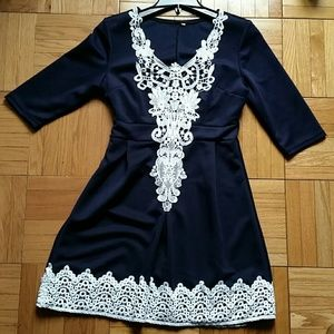 Dresses & Skirts - women navy blue with white lace minI dress meduim