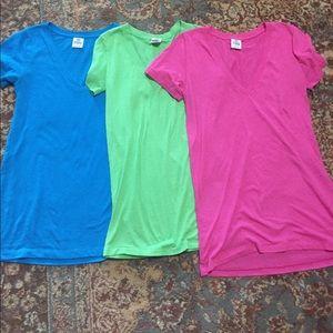 PINK Victoria's Secret Tops - VS PINK solid XS. S, M v-neck tee bundle