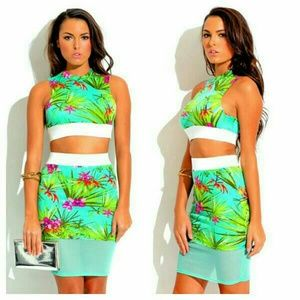 Dresses & Skirts - Mint Tropical Sexy Two Piece Skirt Set  New