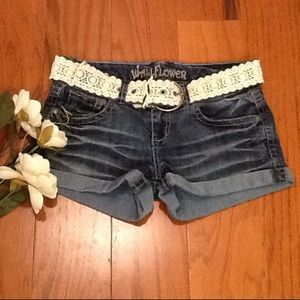 Wallflower Pants - 🌸 Wallflower Denim Jeans Shorts Size 5 & Belt 💞