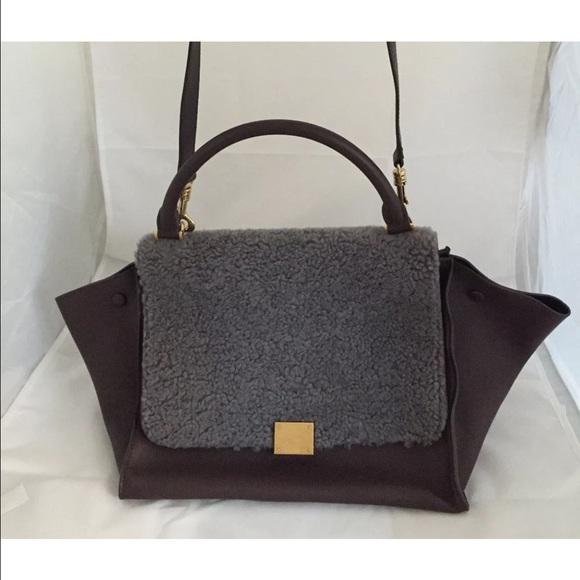 cc143dae456d Celine Handbags - Authentic Celine Leather   Shearling Trapeze Bag