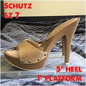 "SCHUTZ Shoes - Nude leather Schutz slides sz 37  5"" heel 1"" plat"