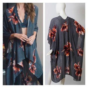 Accessories - New Arrival- Charcoal Floral Kimono, Boho Kimono