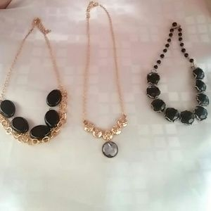 Three Statement Jewelry Necklaces. Gold-Tone Black