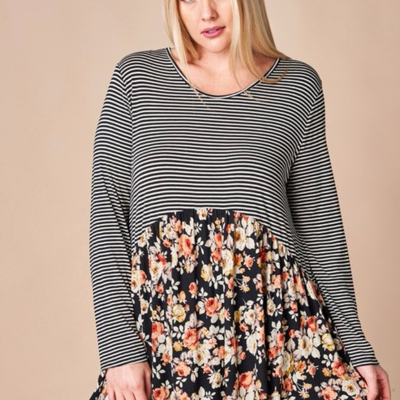 ODDY Tops - Black/Gray Striped top w Floral Flounce top -TO-65