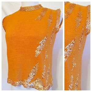 Fab vintage orange Knit top with Sequin detailing