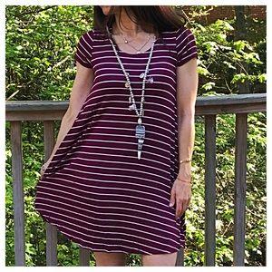 Dresses & Skirts - 🆕 burgundy striped swing dress