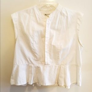 Madewell Tops - Madwell White Peplum Crop Top