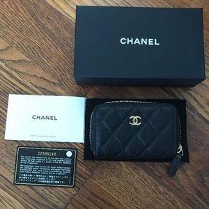 CHANEL Handbags - Authentic Chanel zip coin wallet cavier