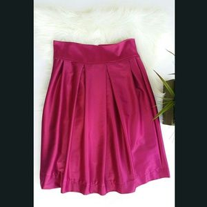 Dresses & Skirts - Satin Fuschia&aqua Pleated Midi Skirt