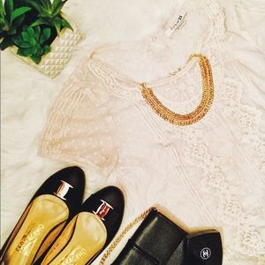 Cream Lace Top with Polka Dots - Forever 21