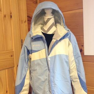 Columbia blue and white lined coat hood XL