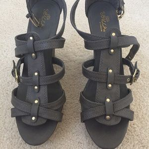 Sbicca Shoes - Gray wedges