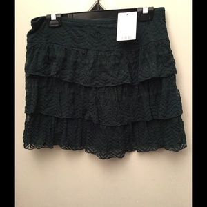 Layered lace mini skirt