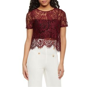 Short Sleeve Lace Crop Top with Scallop Hem