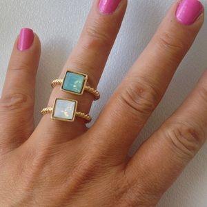 Jessica Elliot Jewelry - MONDAYPacific Opal & White Opal Swarovski Rings JE