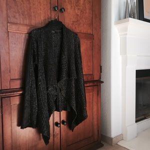 Guess Sweaters - Metallic Asymmetrical Leather Trim Cardigan