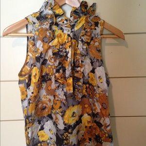 J crew silk  ruffle floral top