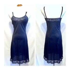 Vintage Navy Full Slip by Formfit Rogers, 34 Bust
