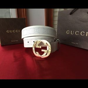 Gucci Other - 🌶Authentic Men Gucci Belt White Monogram Gold GG