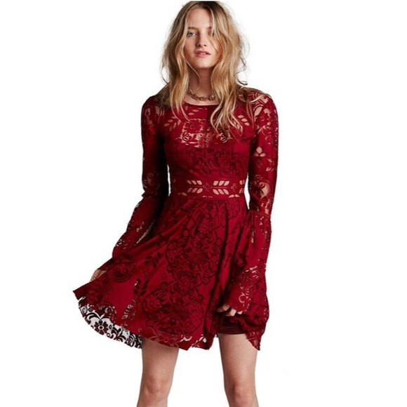 22b6352caf Free People Dresses   Skirts - Free people Lace Lovers Folk Song Dress in  wine