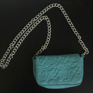 Big Buddha Handbags - Chain cross body blue rose embroidered purse