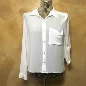 White Sheer Long Sleeve Blouse w Button 3/4 Sleeve