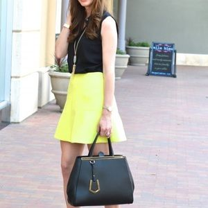 J. Crew Yellow Fluted Double Crepe Skirt Size 2