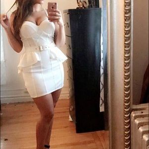 White belted bodycon dress