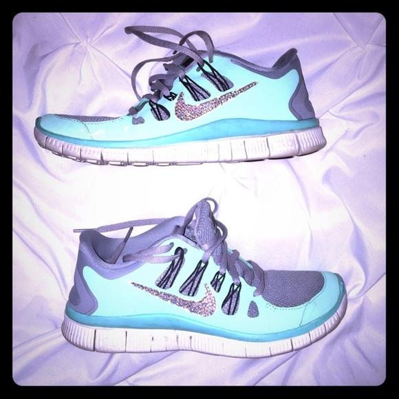 brand new 3cbb7 2be36 Tiffany blue Rhinestone Nikes