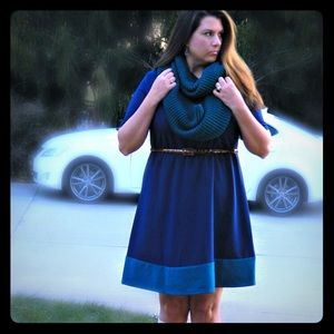 Lucie Lu Dresses & Skirts - Blue Skater Style Dress with Turquoise Trim