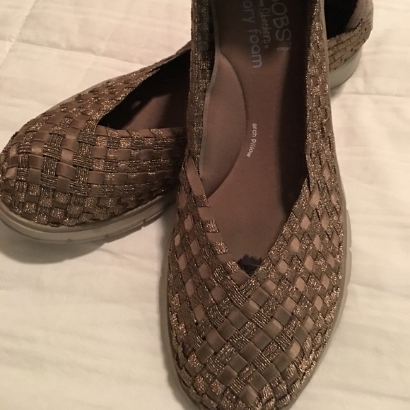 Bobs Skechers Shoes Gold Weave Stretch