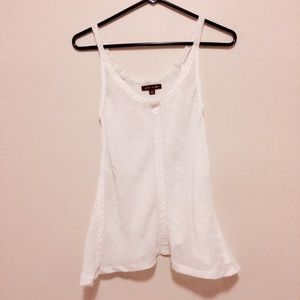 Hive & Honey Tops - Hive & Honey White Flowy Tank with Lace