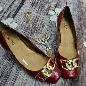 me too Shoes - ⚡⚡FLASHSALE⚡⚡Me Too Red Gold Buckle Accented Heels