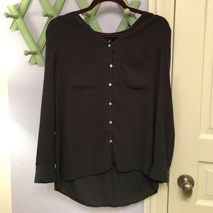 Hardly worn black H&M button down blouse