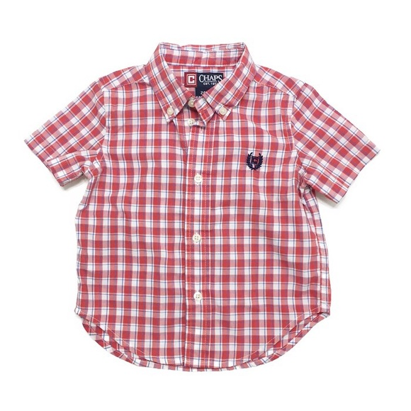 72 off chaps other chaps short sleeve plaid button down for Chaps button down shirts