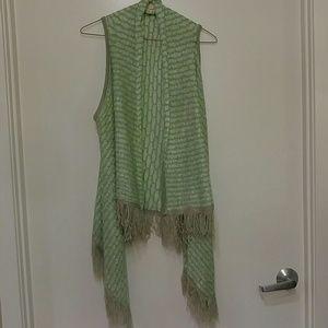 Mint and Gray Fringe Vest, NWOT (Listicle)
