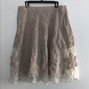Monsoon Dresses & Skirts - Monsoon Tan Embroidered Sheer Inset Hemline Skirt