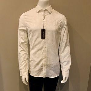 Michael Kors, Men's Slim Fit White Jacquard Shirt
