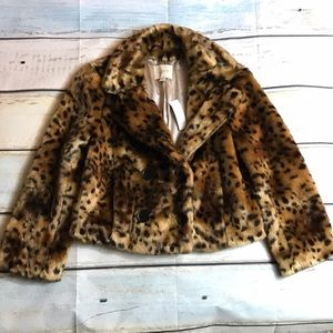 Ann Taylor LOFT Faux Fur Leopard Print Jacket XS