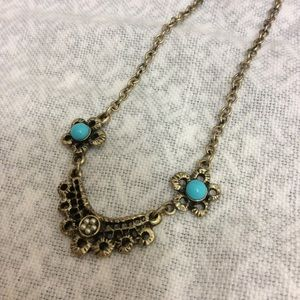 Hobe Jewelry - Vintage Hobe turquoise floral necklace