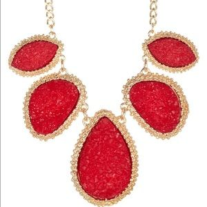 Sale Red And Gold Druzy Necklace